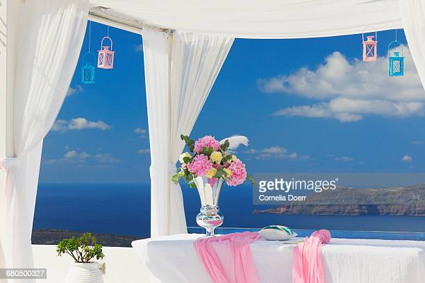 Terrace with wedding decoration