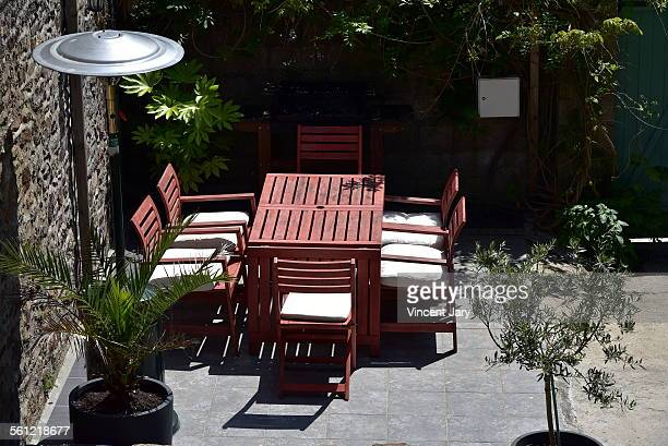 Terrace with wooden table