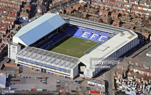 Terraced housing surrounds Everton Football Club's Goodison Park Ground in this aerial photo taken on February 20 2006 above Liverpool England