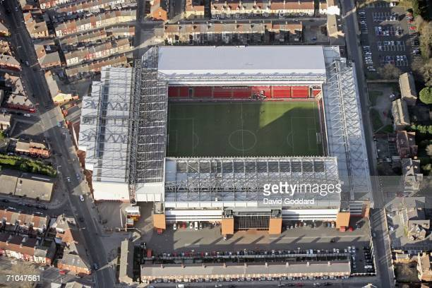 Terraced housing surrounds the home of Liverpool Football Club Anfield in this aerial photo taken on December 17 2005 above Liverpool England