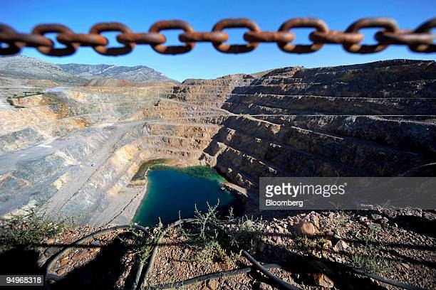Terraced raods line the Molycorp Mountain Pass open pit mine in Mountain Pass California US on Thursday Sept 10 2009 Molycorp Minerals LLC the only...