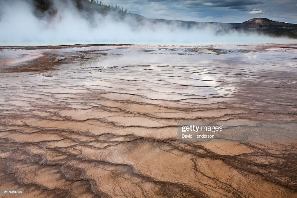 Terraces at Grand Prismatic Spring, Wyoming, USA : Stock Photo