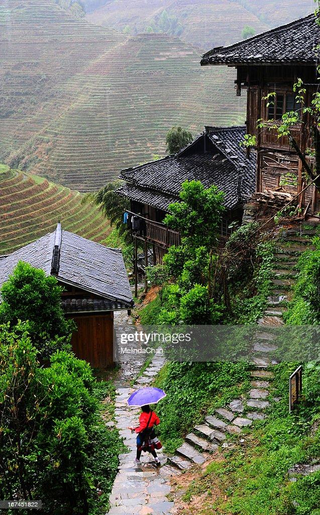 Terraces in Rain : Stock Photo