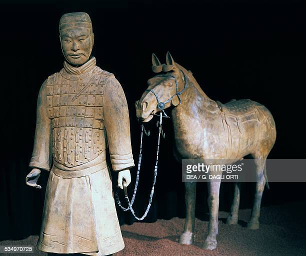 Terracotta Army warrior and horse Mausoleum of Emperor Qin Shi Huang China 3rd century BC