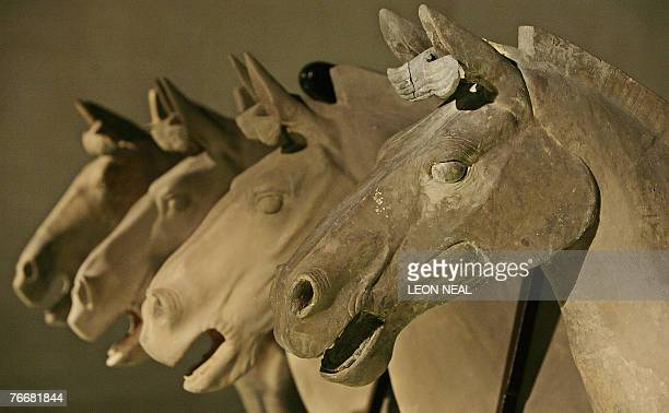 Terracotta horse figures are displayed at an exhibition entitled 'The First Emperor China's Terracotta Army' at the British Museum in central London...