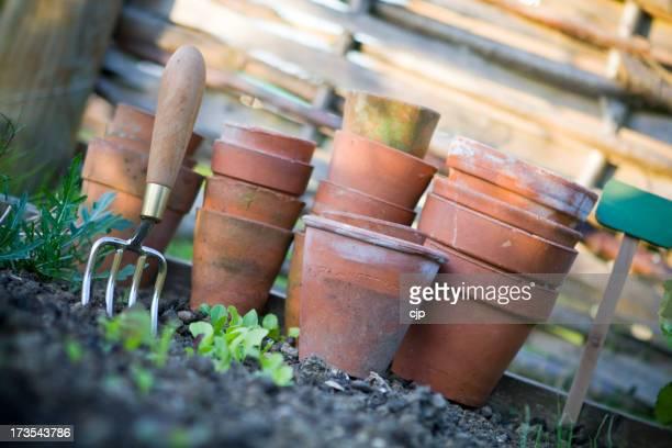 Des Pots de terre cuite dans les légumes Patch