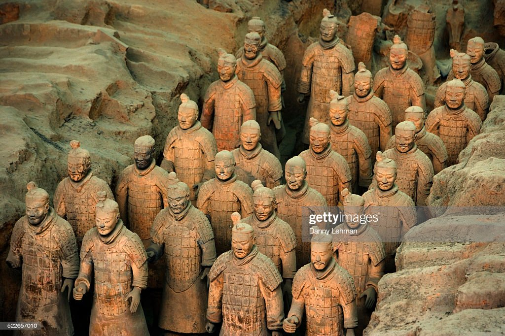 Qin Dynasty Terracotta Statues At The Shi Huangdi Tomb Stock