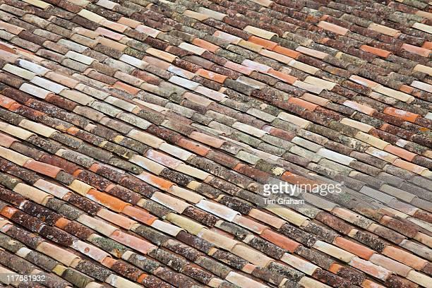 Terracotta tiles rooftops of St Emilion in the Bordeaux region of France