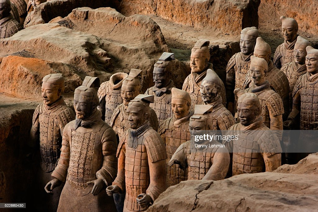 Terracotta Soldiers At Qin Shi Huangdi Tomb Stock Photo