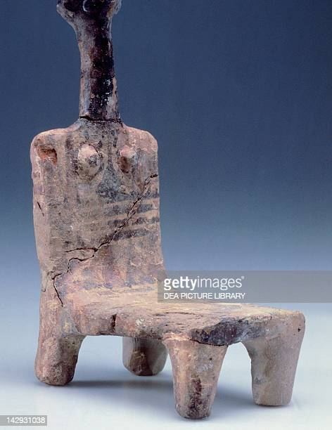 Terracotte figurine of a seated goddess artefact from Ashdod Israel Civilisation of Palestine 12th Century BC Jerusalem Museo Di Israele