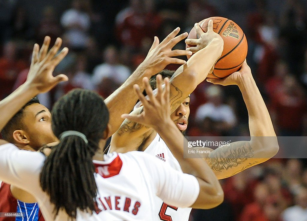 Terran Petteway #5 of the Nebraska Cornhuskers looks to pass during their game against the South Carolina State Bulldogs at Pinnacle Bank Arena on November 17, 2013 in Lincoln, Nebraska.