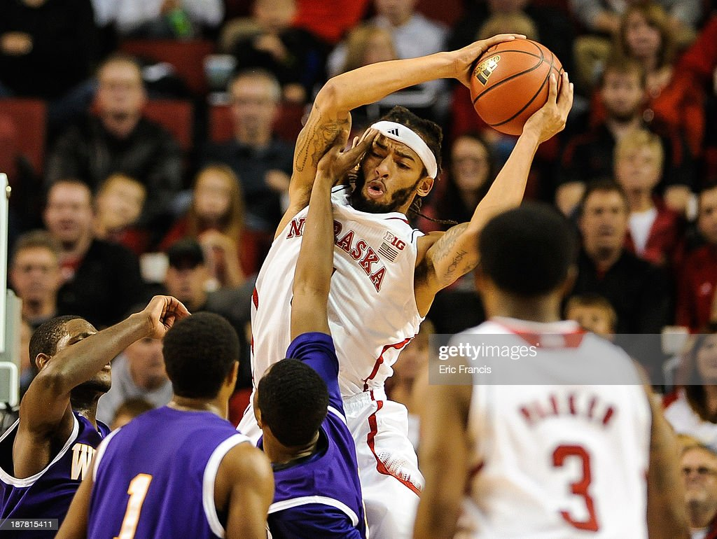 Terran Petteway #5 of the Nebraska Cornhuskers pulls in a rebound over Jordan Foster #10 of the Western Illinois Leathernecks during their game at Pinnacle Bank Arena on November 12, 2013 in Lincoln, Nebraska.
