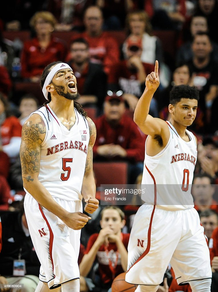 <a gi-track='captionPersonalityLinkClicked' href=/galleries/search?phrase=Terran+Petteway&family=editorial&specificpeople=8710286 ng-click='$event.stopPropagation()'>Terran Petteway</a> #5 of the Nebraska Cornhuskers reacts after a basket during their game against the Northern Kentucky Norse at Pinnacle Bank Arena November 16, 2014 in Lincoln, Nebraska.