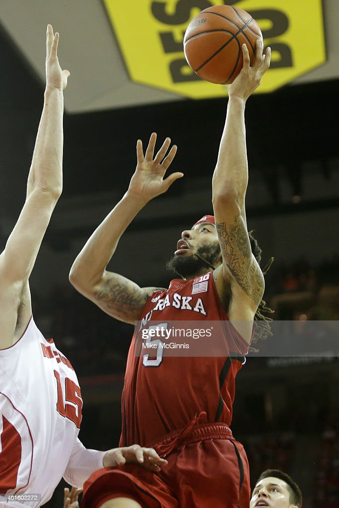 Terran Pittway #5 of the Nebraska Cornhuskers drives to the hoop during the second half against Wisconsin Badgers at Kohl Center on January 15, 2015 in Madison, Wisconsin.