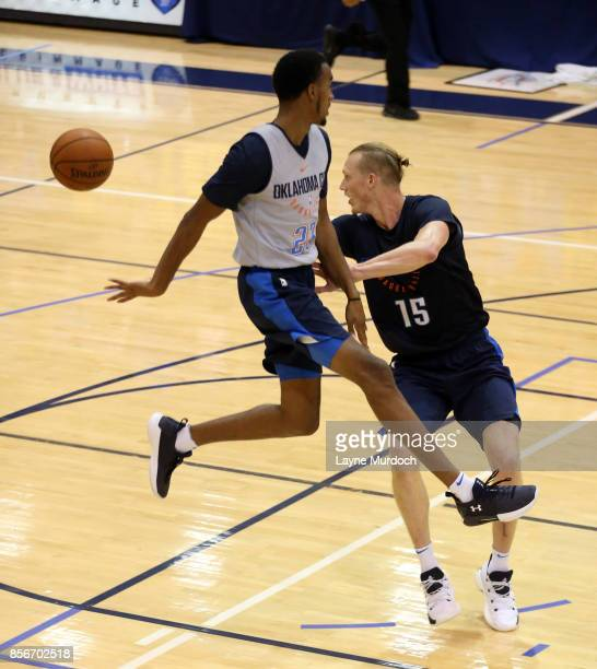 Terrance Ferguson and Kyle Singler of the Oklahoma City Thunder and their team hold an open Blue/White scrimmage for fans on October 1 2017 at Edmond...