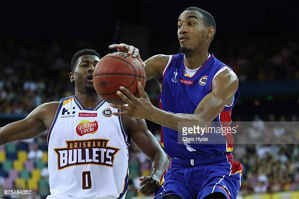 Terrance Ferguson of the 36ers passes during the round eight NBL match between the Brisbane Bullets and the Adelaide 36ers at the Brisbane...