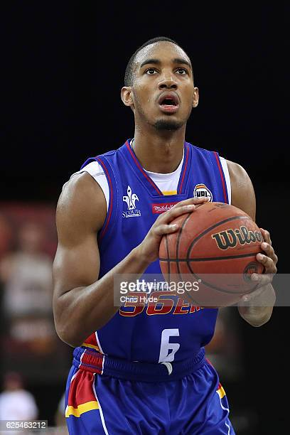 Terrance Ferguson of the 36ers shoots a freethrow during the round eight NBL match between the Brisbane Bullets and the Adelaide 36ers at the...
