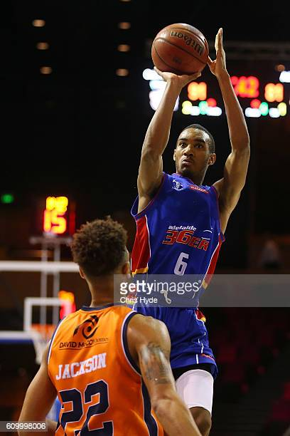 Terrance Ferguson of the 36ers shoots during the Australian Basketball Challenge match between Cairns Taipans and Adelaide 36ers at the Brisbane...