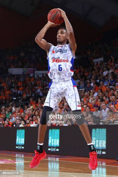 Terrance Ferguson of the 36ers shoots during the round 19 NBL match between the Cairns Taipans and the Adelaide 36ers at the Cairns Convention Centre...
