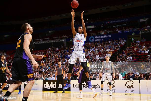 Terrance Ferguson of the 36ers shoots during the round eight NBL match between the Sydney Kings and the Adelaide 36ers at Qudos Bank Arena on...