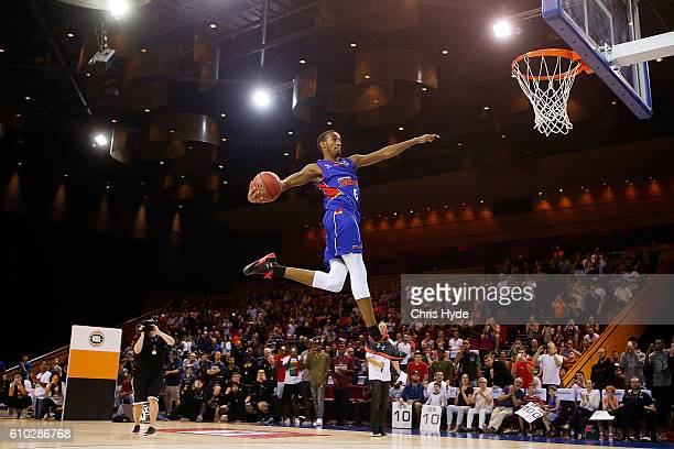 Terrance Ferguson of the Adelaide 36ers during the dunk contest during the Australian Basketball Challenge at Brisbane Convention and Exhibition...
