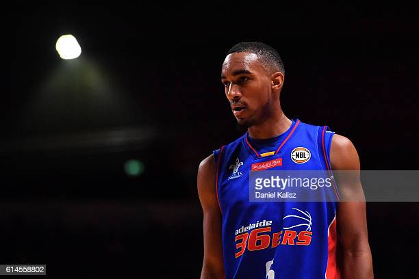 Terrance Ferguson of the Adelaide 36ers looks on during the round two NBL match between the Adelaide 36ers and Melbourne United at the Adelaide...
