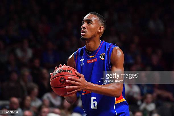 Terrance Ferguson of the Adelaide 36ers shoots during the round two NBL match between the Adelaide 36ers and Melbourne United at the Adelaide...