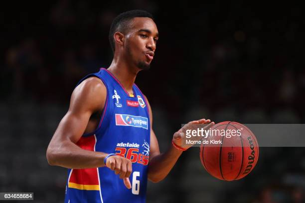 Terrance Ferguson of the Adelaide 36ers warm up before the round 19 NBL match between the Adelaide 36ers and the Cairns Taipans at Titanium Security...