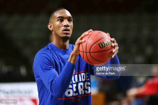 Terrance Ferguson of the Adelaide 36ers warms up before the round six NBL match between the Adelaide 36ers and the Illawarra Hawks at the Adelaide...