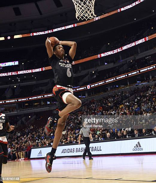Terrance Ferguson of the East team goes up for a dunk against the West team during the 2016 McDonalds's All American Game on March 30 2016 at the...