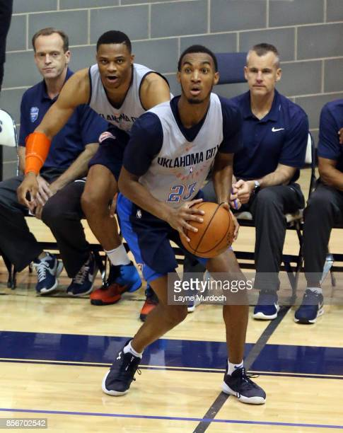Terrance Ferguson of the Oklahoma City Thunder and his team hold an open Blue/White scrimmage for fans on October 1 2017 at Edmond North High School...