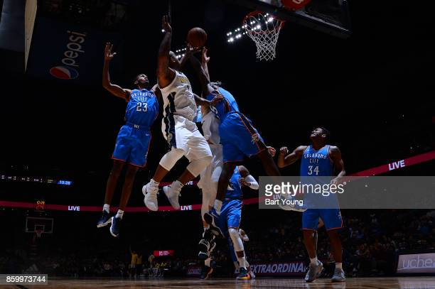 Terrance Ferguson of the Oklahoma City Thunder goes to the basket against the Denver Nuggets on October 10 2017 at the Pepsi Center in Denver...