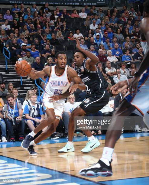 Terrance Ferguson of the Oklahoma City Thunder handles the ball against the Melbourne United during the preseason game on October 8 2017 at...