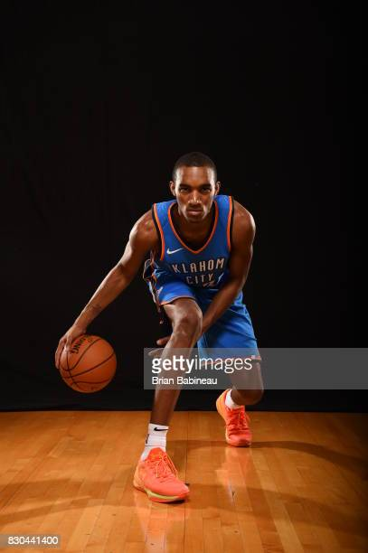 Terrance Ferguson of the Oklahoma City Thunder poses for a portrait during the 2017 NBA Rookie Photo Shoot at MSG training center on August 11 2017...