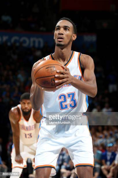 Terrance Ferguson of the Oklahoma City Thunder shoots a free throw during the game against the New Orleans Pelicans during a preseason game on...
