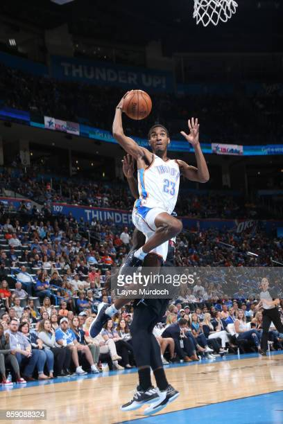 Terrance Ferguson of the Oklahoma City Thunder shoots the ball against the Melbourne United during the preseason game on October 8 2017 at Chesapeake...