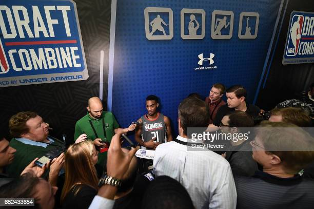 Terrance Ferguson speaks to reporters during Day Two of the NBA Draft Combine at Quest MultiSport Complex on May 12 2017 in Chicago Illinois NOTE TO...