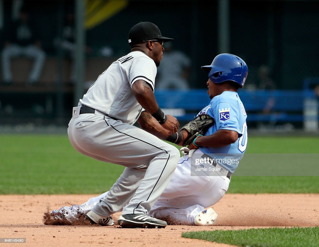 Terrance Gore #0 of the Kansas City Royals is tagged out by Tim Anderson #7 of the Chicago White Sox while trying to steal second base during the 8th inning of the game at Kauffman Stadium on September 12, 2017 in Kansas City, Missouri.