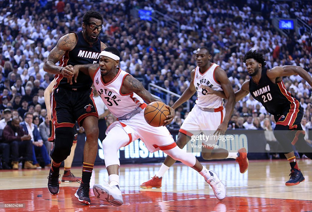 Terrance Ross #31 of the Toronto Raptors dribbles the ball as <a gi-track='captionPersonalityLinkClicked' href=/galleries/search?phrase=Amar%27e+Stoudemire&family=editorial&specificpeople=201492 ng-click='$event.stopPropagation()'>Amar'e Stoudemire</a> #5 of the Miami Heat defends in the first half of Game Two of the Eastern Conference Semifinals during the 2016 NBA Playoffs at the Air Canada Centre on May 5, 2016 in Toronto, Ontario, Canada.