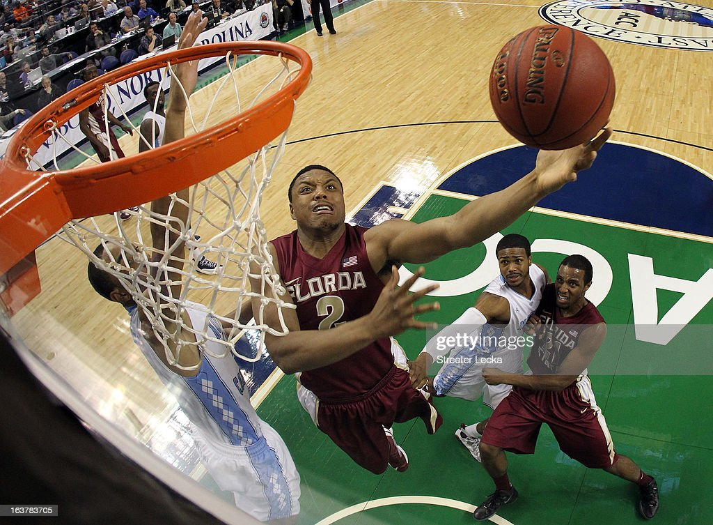 Terrance Shannon #2 of the Florida State Seminoles drives to the basket against the North Carolina Tar Heels during the quarterfinals of the Men's ACC Basketball Tournament at Greensboro Coliseum on March 15, 2013 in Greensboro, North Carolina.
