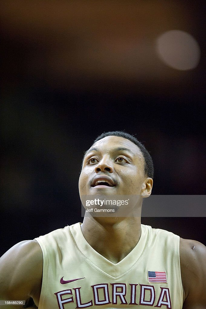Terrance Shannon #2 of the Florida State Seminoles lookes to make a free throw during the game at the Donald L. Tucker Center on December 17, 2012 in Tallahassee, Florida. Florida State won 63-48.
