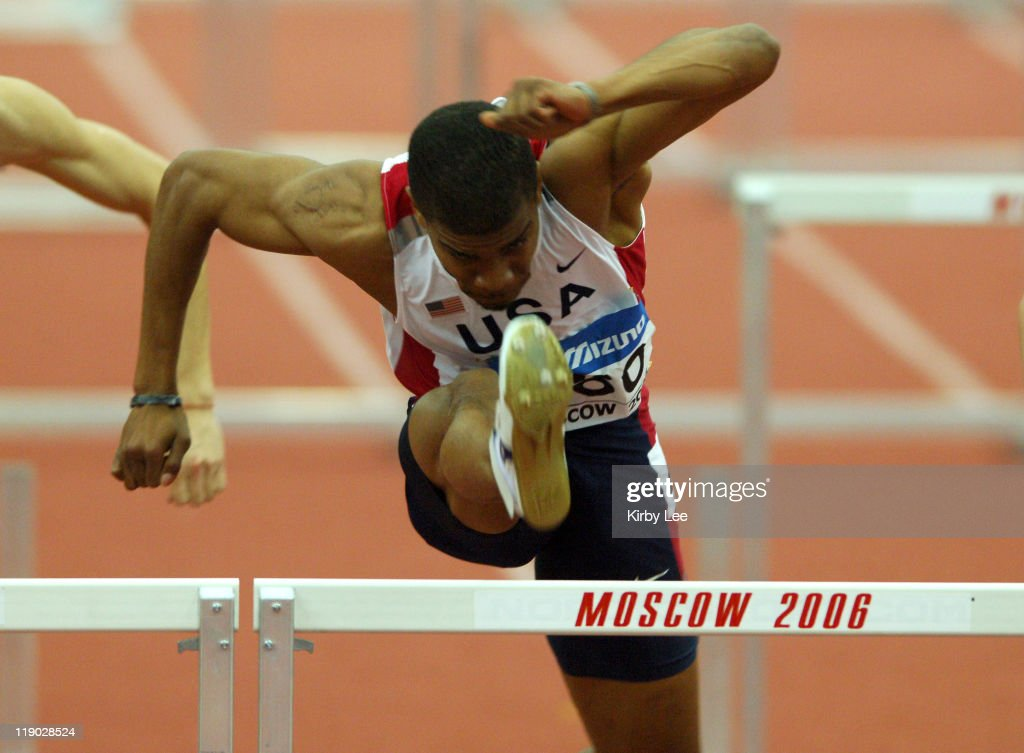 Terrance Trammell of the United States wins 60-meter hurdle semifinal in 7.57 in the IAAF World Indoor Championships at the Olympiysky Sports Complex in Moscow, Russia on Saturday, March 11, 2006.