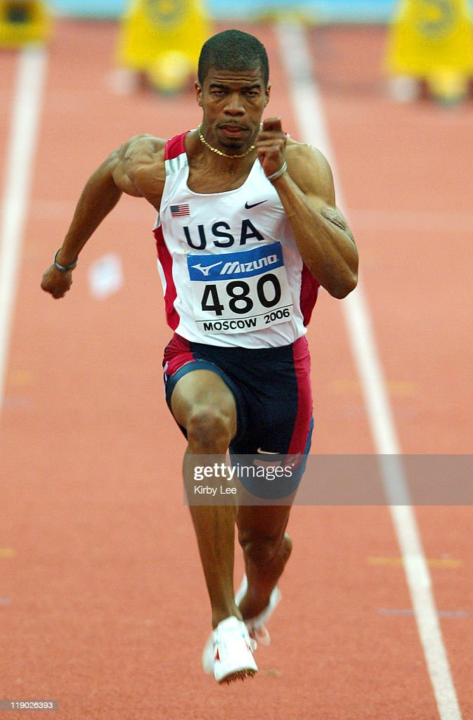 Terrance Trammell of the United States wins the bronze medal in the 60-meter semifinal in 6.58 in the IAAF World Indoor Championships in Athletics at the Olympiysky Sports Complex in Moscow, Russia on Friday, March 10, 2006.
