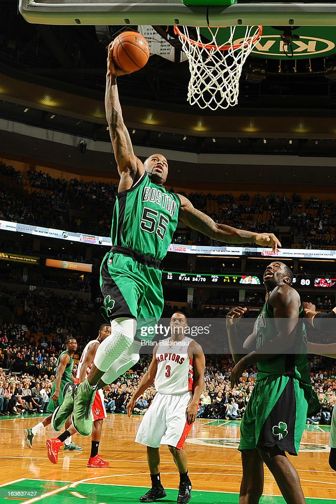 Terrance Williams #55 of the Boston Celtics shoots the ball against the Toronto Raptors on March 13, 2013 at the TD Garden in Boston, Massachusetts.