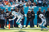 Terrance Williams of the Dallas Cowboys makes a 31yard touchdown reception against Brice McCain of the Miami Dolphins in the second quarter of the...