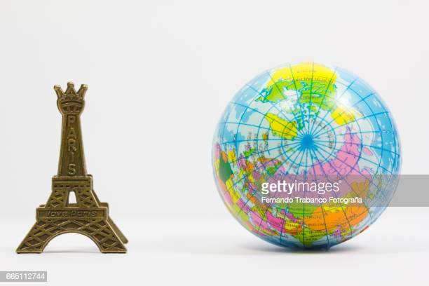 Terraqueo balloon Globe and Eiffel tower, Paris (France)