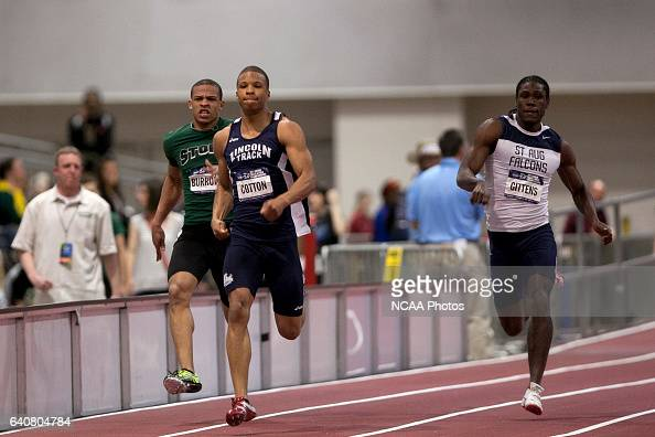 Terrel Cotton of Lincoln Mo Ramon Gittens of St Augustine and Chris Burrows of Lake Erie compete in the men's 200 meter dash during the Division II...