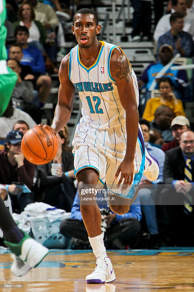 Terrel Harris #12 of the New Orleans Hornets advances the ball against the Boston Celtics on March 20, 2013 at the New Orleans Arena in New Orleans, Louisiana.