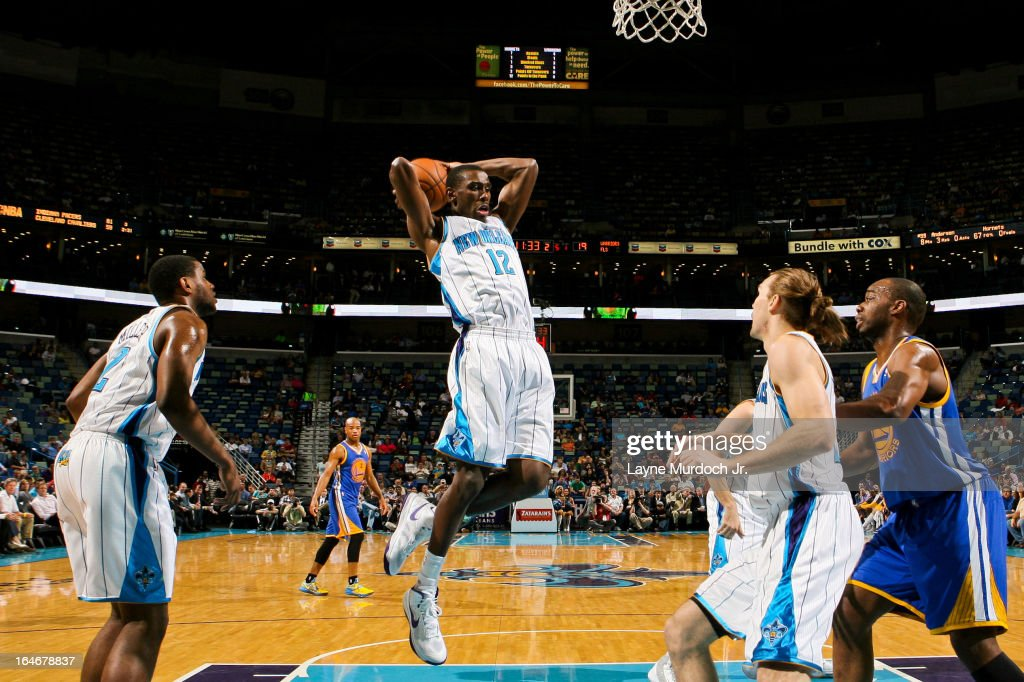 <a gi-track='captionPersonalityLinkClicked' href=/galleries/search?phrase=Terrel+Harris&family=editorial&specificpeople=835465 ng-click='$event.stopPropagation()'>Terrel Harris</a> #12 of the New Orleans Hornets grabs a rebound against the Golden State Warriors on March 18, 2013 at the New Orleans Arena in New Orleans, Louisiana.