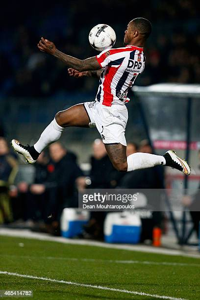 Terrel Ondaan of Willem II leaps and controls the ball with his chest during the Dutch Eredivisie match between Willem II Tilburg and FC Twente held...